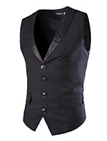 Men's Sleeveless Vest , Polyester Casual / Work / Formal Pure