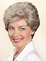 couleur grise capless courte perruque synthétique cheveux bouclés Bang complet