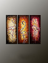 Hand-Painted Animal Modern Oil Painting , Canvas Three Panels
