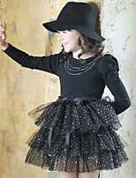 Girl's Spring / Fall Cotton Sequin Long Sleeveed Hubble-Bubble Sleeve Gauze Skirt Cake Dress