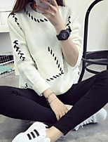 Women's Print Casual Cute Preppy Style Loose Round Neck Long Sleeve Pullover