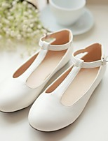 Women's Shoes Leatherette Flat Heel Ballerina / Round Toe Flats Outdoor / Dress / Casual Black / Pink / White