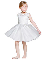 Cute Kid Girl's White Princess Dress , Lace Cotton / Polyester Summer / All Seasons Knot-bow Belt of Waistline 1~6Yrs