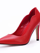 Women's Shoes Leather Stiletto Heel Heels / Pointed Toe Heels Dress / Casual Black / Red