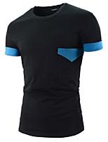 Men's Short Sleeve T-Shirt , Cotton Casual Color Block