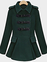 Women's Solid Red / Green Coat , Casual / Plus Sizes Long Sleeve Polyester