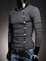 Herren Freizeit T-Shirt - Einfarbig Lang Baumwolle