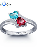 Personalized Infinite Love Promise Ring Double Heart Stone 925 Sterling Silver Wedding Ring For Women