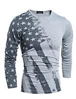 Katoen-Print-Heren-T-shirt-Informeel-Lange mouw