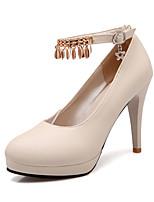 Women's Shoes Cone Heel Comfort / Round Toe Heels Wedding / Outdoor / Dress / Casual Black / Pink / Beige