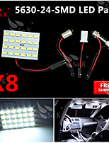 8X  White 5630 24 SMD Panel Map Dome Interior Light+ Festoon T10 BA9S Adapter