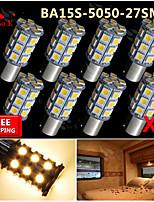 8x Warm White Ba15s 1156 RV Reverse 27 LED SMD Car Rear Turn Light Signal Bulbs