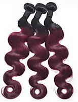14inch Ombre Hair Extension 3pieces/lot 1B/99J Body Wave Human Hair Weaves Peruvian Virgin Hair