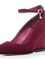 Women's Shoes Cashmere Wedge Heel Pointed Toe Heels Party & Evening / Dress Black / Red