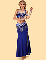 Belly Dance Outfits Women's Performance Spandex / Polyester Draped 3 Pieces Fuchsia / Gold / Red / Royal Blue