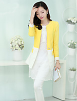 Women cultivate one's morality color matching stitching coat Leisure fashion long small suit HOUTW33