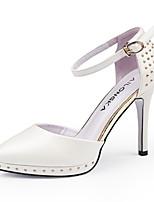 Women's Shoes Leatherette Stiletto Heel Heels Heels / Loafers Party & Evening / Dress / Casual Blue / White / Beige