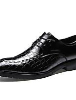Черный-Для мужчин-Свадьба Для офиса Для вечеринки / ужина-Кожа-На плоской подошве-Удобная обувь-Туфли на шнуровке