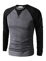 Men's Long Sleeve T-Shirt , Cotton Casual Color Block