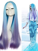 Popular European Mermaid Cosplay Ombre Color Long Straight Synthetic Wig