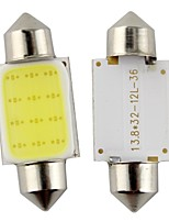 2pcs festoon 36mm 3w 240lm 6000k mazorca llevó la luz blanca de la bombilla del manejo del coche / lámpara de lectura (DC12V)