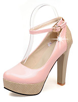 Women's Shoes PU Chunky Heel Heels /  Round Toe Heels Outdoor / Office & Career / Dress Black / Pink / Almond