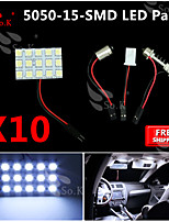 10X  White 5050 LED 15 SMD Panel Map Dome Interior Light+ Festoon T10 BA9S Adapter
