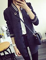 Women's Striped Black / Gray Cardigan , Casual Long Sleeve