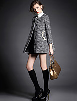 Women's Solid Multi-color Coat , Casual Long Sleeve Polyester