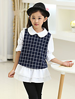 Girl's Blue / Gray Dress , Check / Dresswear Cotton Spring / Fall