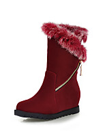 Women's Shoes Leatherette Wedge Heel Wedges / Fashion Boots Boots Dress / Casual Black / Red