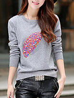 Women's Print Red / White / Black / Yellow / Gray Pullover , Casual / Print Long Sleeve