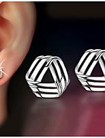 S925 Fine Silver Triangle Stud Earrings