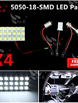 4X   White 5050 LED 18 SMD Panel Map Dome Interior Light+ Festoon T10 BA9S Adapter