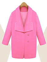 Women's Solid Blue / Pink Coat , Casual Long Sleeve Polyester