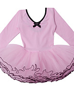One Piece Pink Cotton Long Sleeve Ballet Tutu Dresses for 3~8 Years Girls,Professional Classical Ballet  Dance Costume