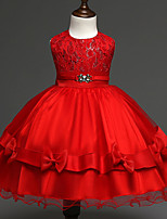 Ball Gown Knee-length Flower Girl Dress - Lace Satin Tulle Jewel with Bow(s) Lace Sash / Ribbon Sequins