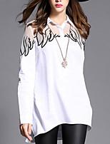 Women's Print White Sexy Shirt Collar Long Sleeve