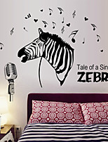 Wall Stickers Wall Decals Style Zebra In Singing Waterproof Removable PVC Wall Stickers