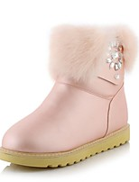 Women's Shoes Leatherette Low Snow Boots / Round Toe Boots Outdoor / Office & Career / Casual Black / Pink