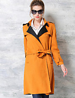 Women's Formal Street chic Trench Coat,Solid Cowl Long Sleeve Fall Orange Polyester Opaque