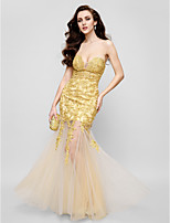 TS Couture Formal Evening Dress - Gold Fit & Flare Strapless Floor-length Lace / Tulle