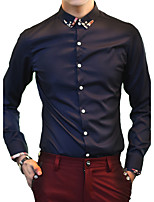 Men's Long Sleeve Shirt , Cotton / Linen / Polyester Casual / Work / Formal / Sport / Plus Sizes Pure