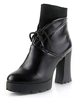Women's Boots Chunky Heel Platform Bootie/Round Toe Dress Ankle Boots Black/Wine Red/Brown