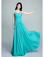 Formal Evening Dress - Pool Ball Gown Scoop Floor-length Chiffon