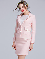 Women's Formal Vintage / Cute Coat,Solid Notch Lapel Long Sleeve Fall Pink Polyester Opaque