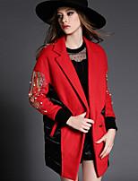 Mulheres Casaco Formal Moda de Rua Outono,Sólido Vermelho Poliéster Lapela Chanfrada-Manga Longa Opaca