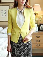 Women's Solid Yellow Blazer , Work Shirt Collar Long Sleeve