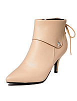 Women's Shoes Leatherette Stiletto Heel Heels / Pointed Toe Boots Outdoor / Office & Career / Casual Black / Almond