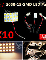10X  Warm White 5050 LED 15 SMD Panel Map Dome Interior Light+ Festoon T10 BA9S Adapter
